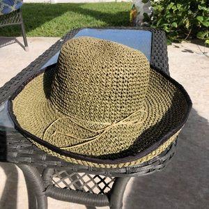 Green Woven Hat Bow Sun Beach Large